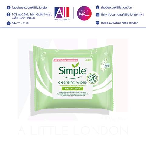 Giấy tẩy trang Simple Kind to Skin Cleansing Wipe 25 tờ (Bill Anh)