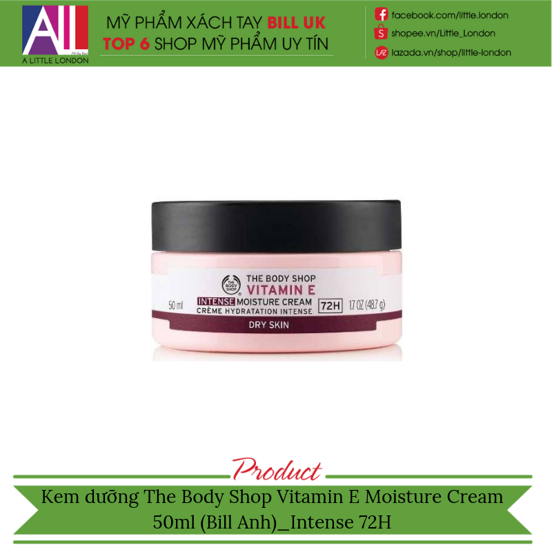3794465ad9 Kem dưỡng The Body Shop Vitamin E Moisture Cream 50m (Bill Anh) intens – Little  London - Mỹ phẩm xách tay bill UK