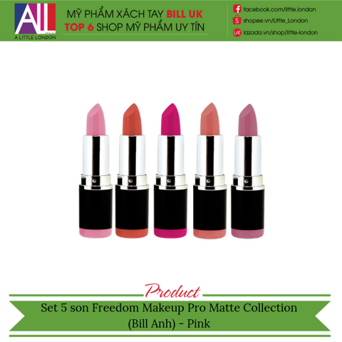 Set 5 son Freedom Makeup Pro Matte Collection (Bill Anh) - Pink
