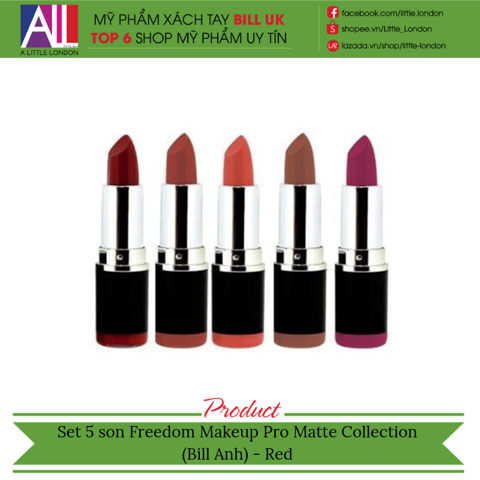 Set 5 son Freedom Makeup Pro Matte Collection (Bill Anh) - Red