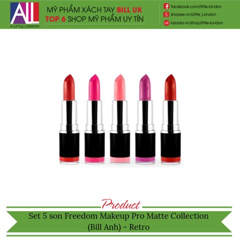 [Clearance- Dọn kho] Set 5 son Freedom Makeup Pro Matte Collection (Bill Anh) - Retro