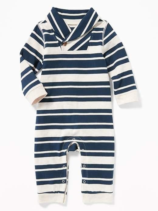[5-14kg] Sleepsuit Old Navy 60 [Boy] - Xanh/Sọc Trắng