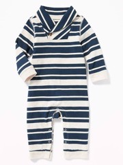 [5-14kg] Sleepsuit Old Navy 60 [Boy] - Xanh/Sọc Trắng