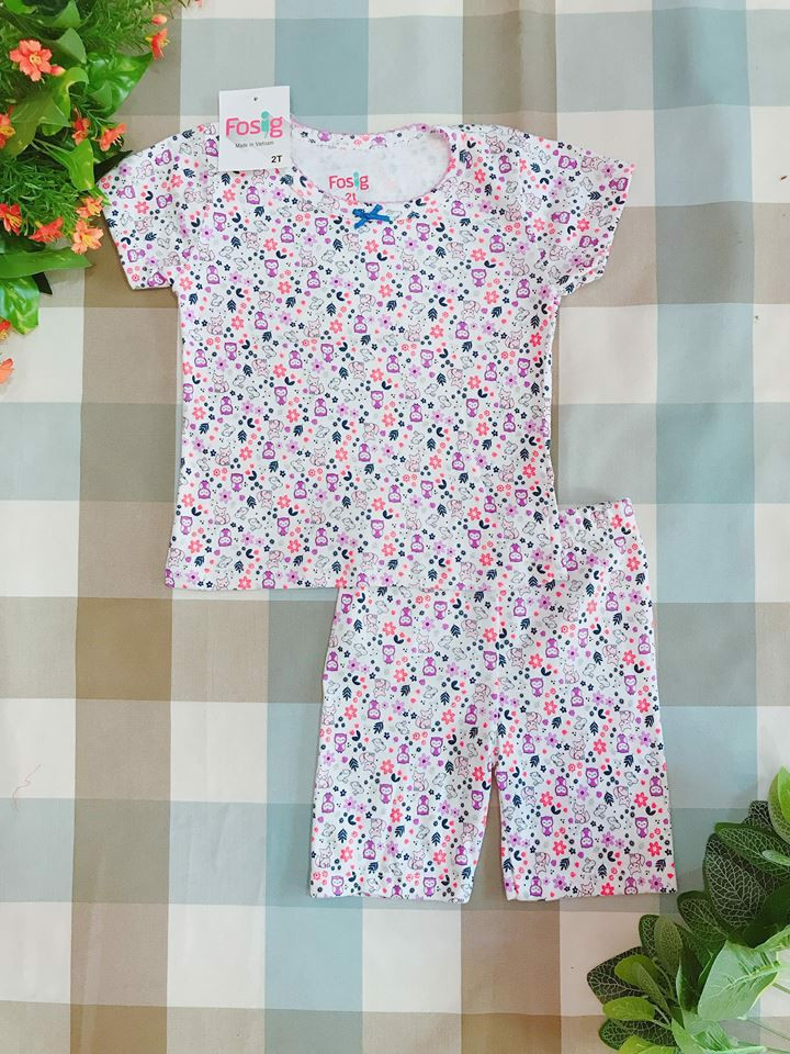 6kg 15-16kg bộ Fosig [girl] - White/Pattern Purple