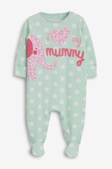 [3-12kg] Sleepsuit Next Baby 73 [Girl] - Xanh Ngọc/Mummy
