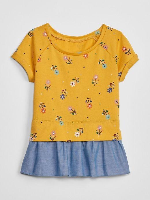 [14-15kg] Áo Váy Baby Gap 88 [Girl] - Vàng/Hoa