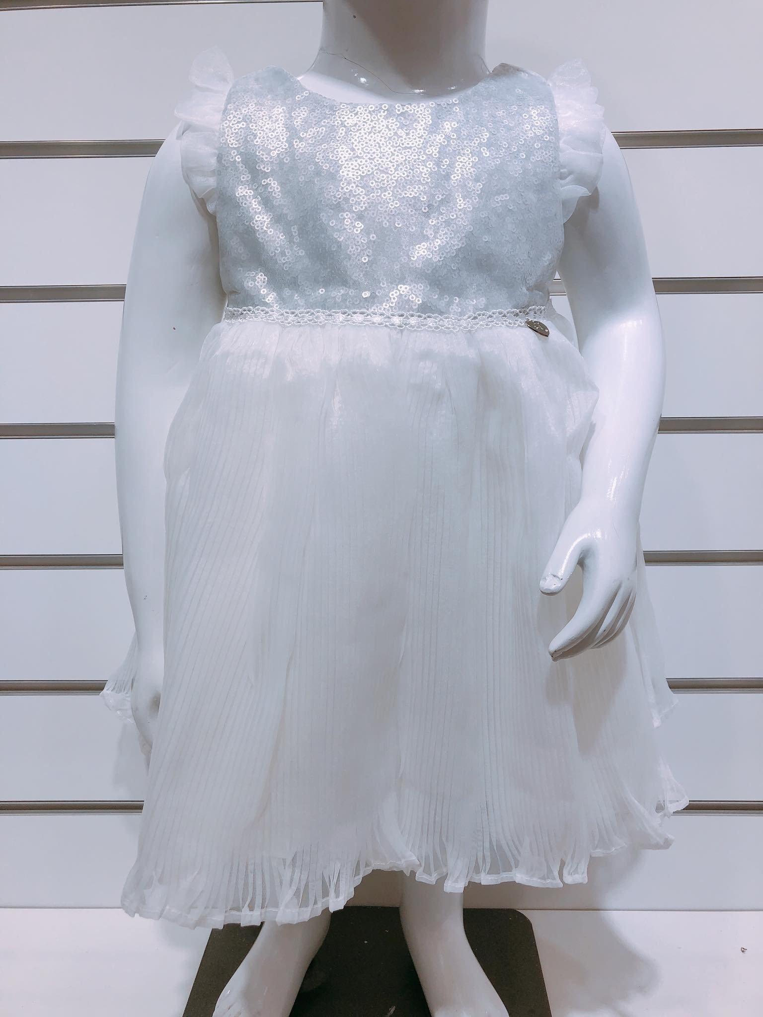 Đầm Công Chúa Baby Girl - Xám Trắng/Trơn
