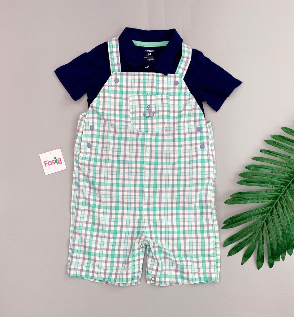 [12-13kg] Set Yếm Carter's C8 [Boy] - Caro/Navy Hand