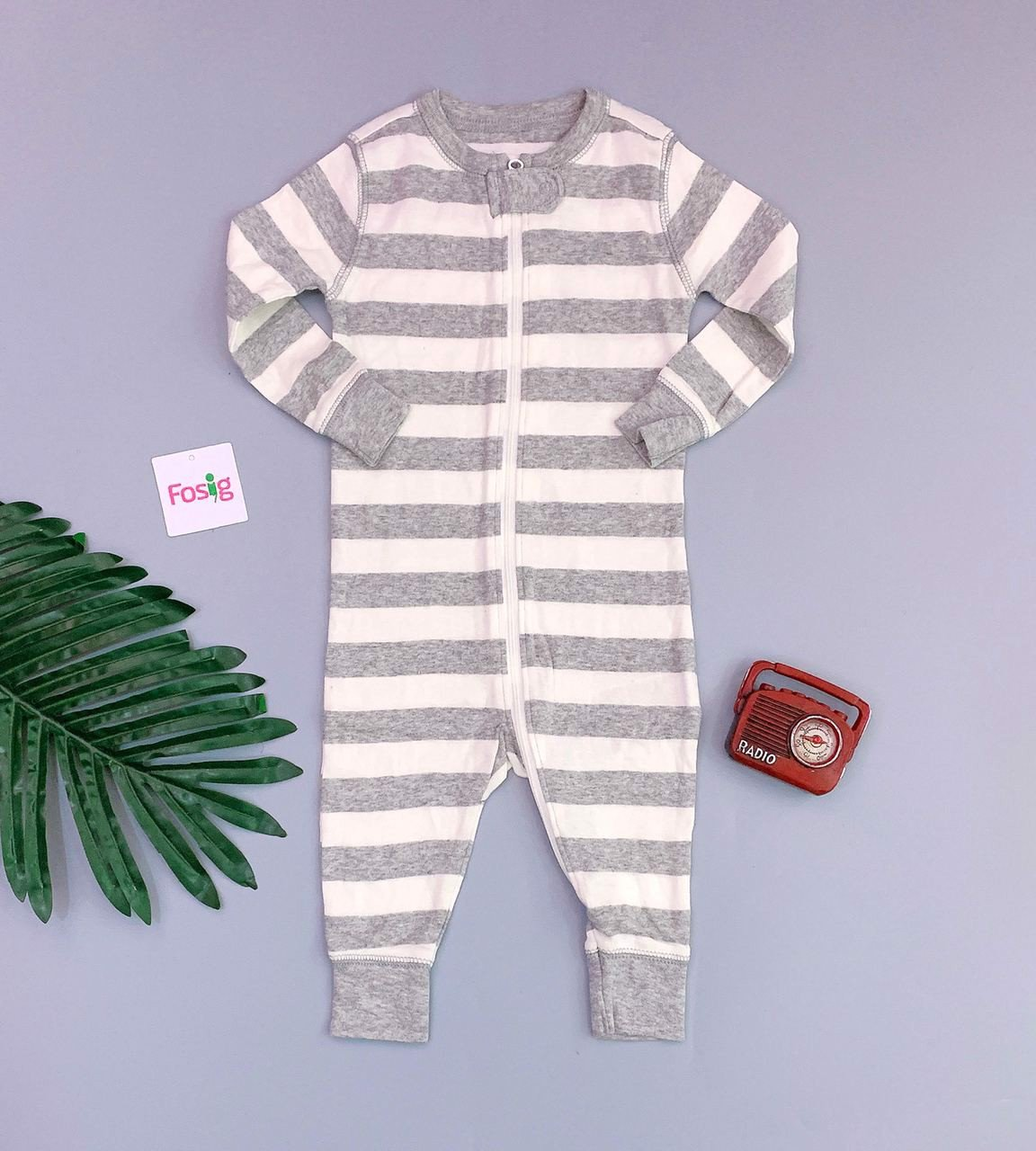 [8-13kg] Sleepsuit Old Navy [Boy] - Sọc Xám To