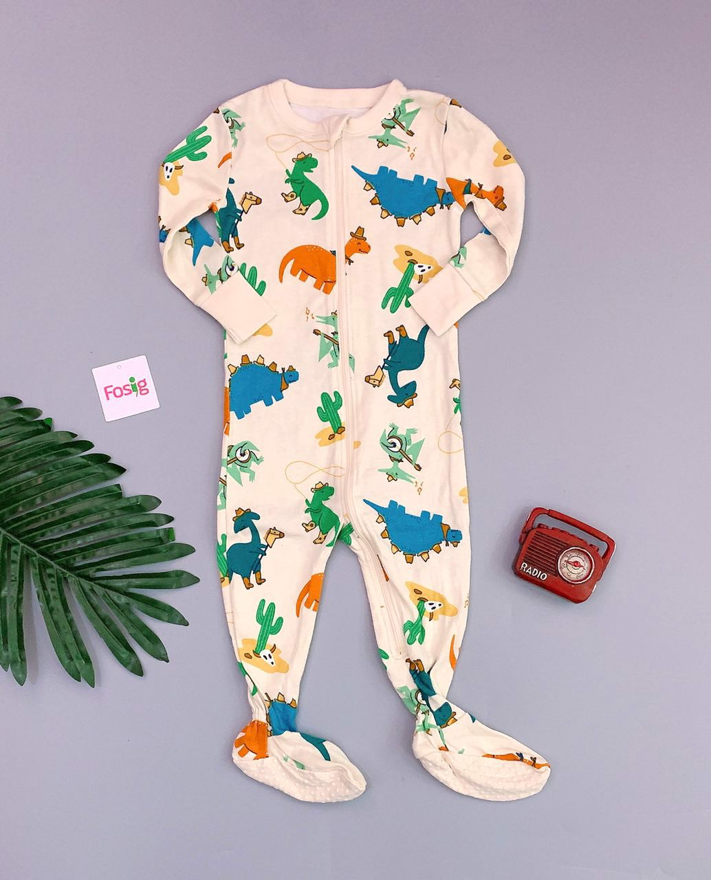 [8-9kg] Sleepsuit Old Navy [Boy] - Kem/Khủng Long Màu