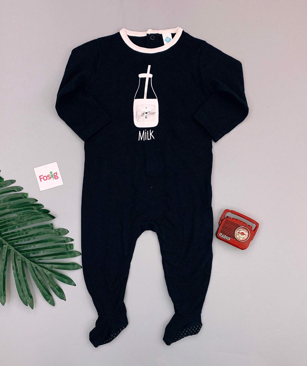 [11-12kg] Sleepsuit Tex [Boy] - Đen/Milk