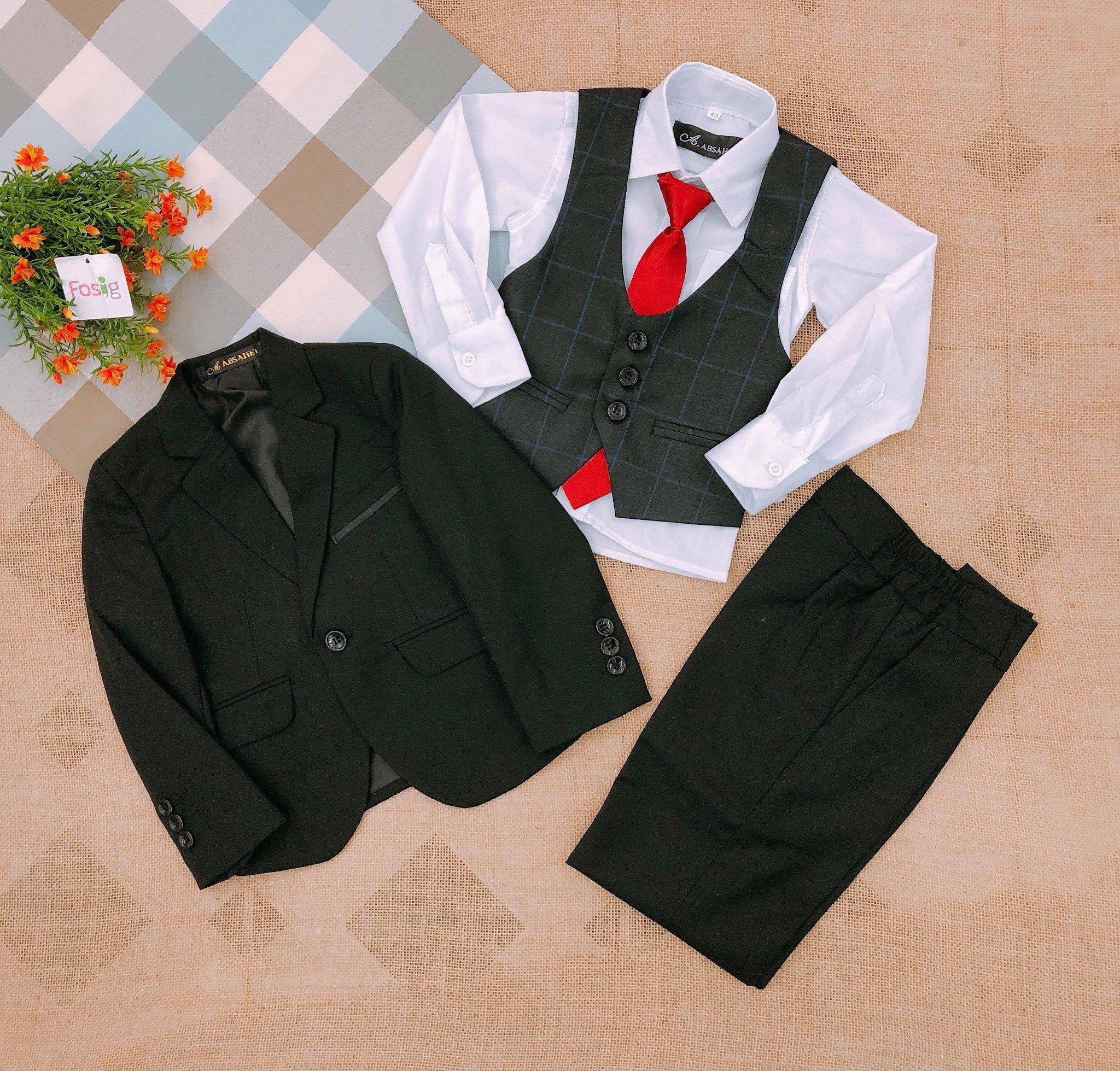 Set Vest A.ABSAHET [Boy] - Đen Trơn