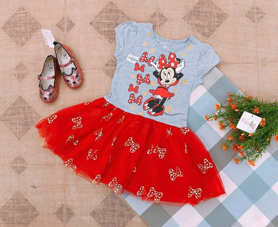 Đầm Đisney BaBy Girl - Xám/Đỏ/Mickey