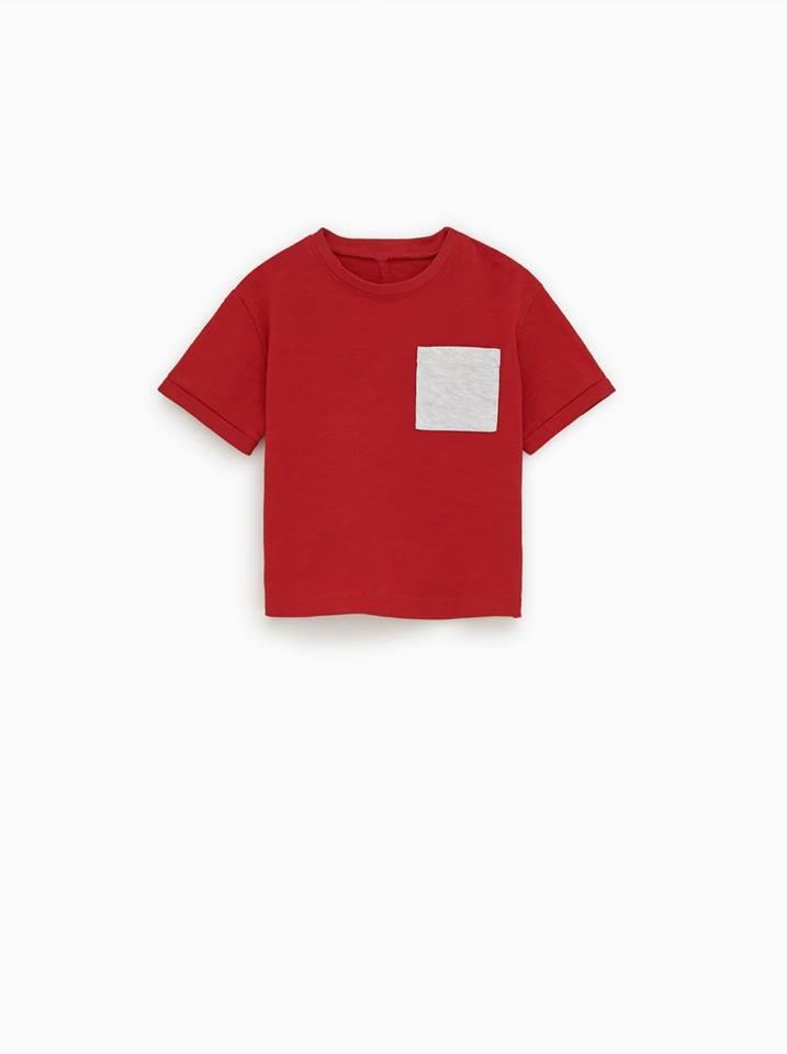 [5-14kg] Áo Thun Zara BaBy Boy - Đỏ/Túi Xám