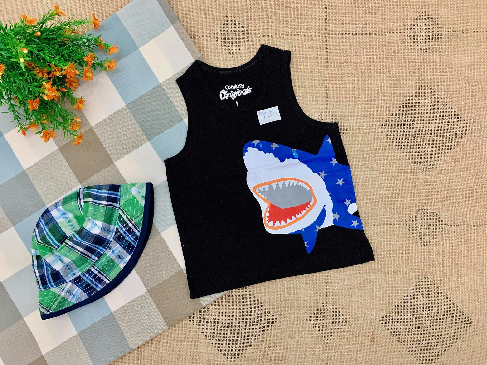 Áo Thun OshKosh 3 Lỗ [Boy] - Đen/Cá Mập
