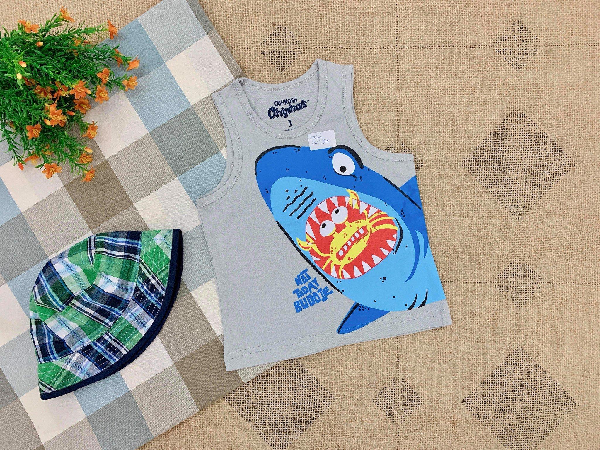 Áo Thun OshKosh 3 Lỗ [Boy] - Xám/Cá Mập/Cua