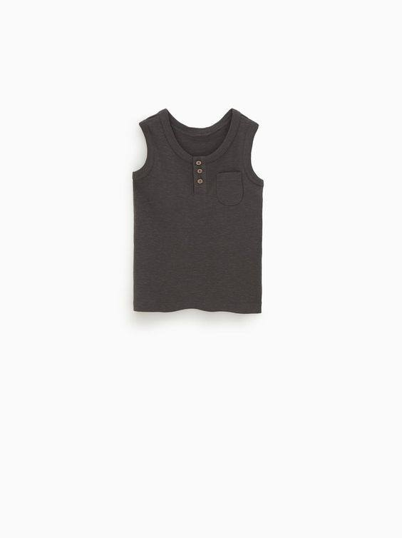 Áo Thun Zara 3 Lỗ [Boy] - Đen Xám