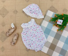 Set 2 Bodysuit Little Beginnings [Girl] - Trắng/Hoa Lá