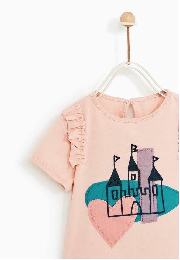 Áo Thun Zara [Girl] - Hồng/Lâu Đài