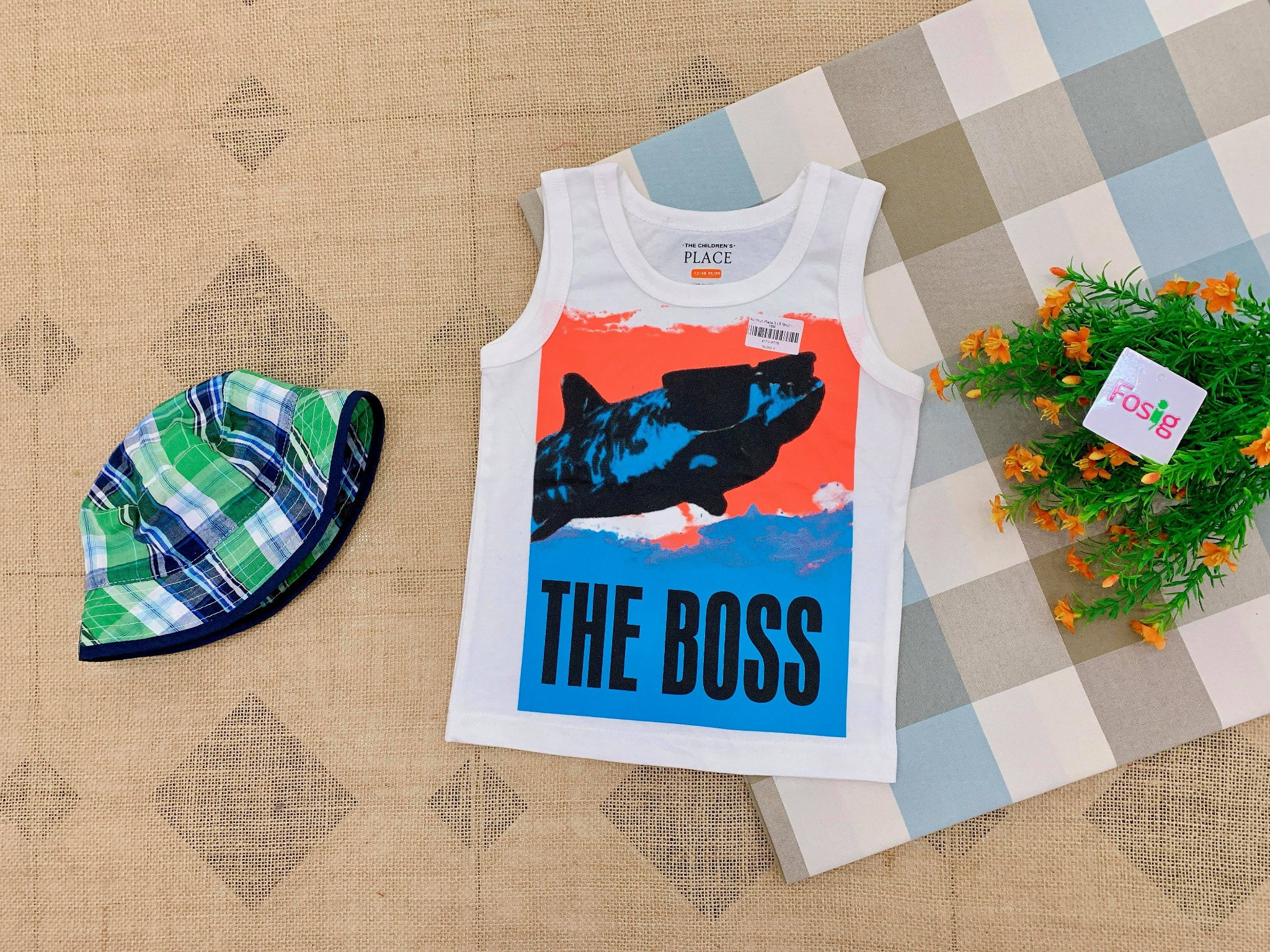 [12-17kg] Áo Thun Place 3 Lỗ [Boy] - Trắng/The Boss