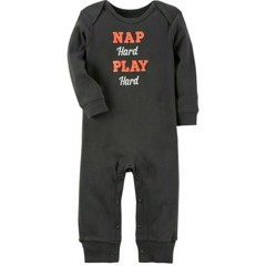 [0-3M 5kg>] Sleepsuit Carter's [Nap hard Play hard] - Brown
