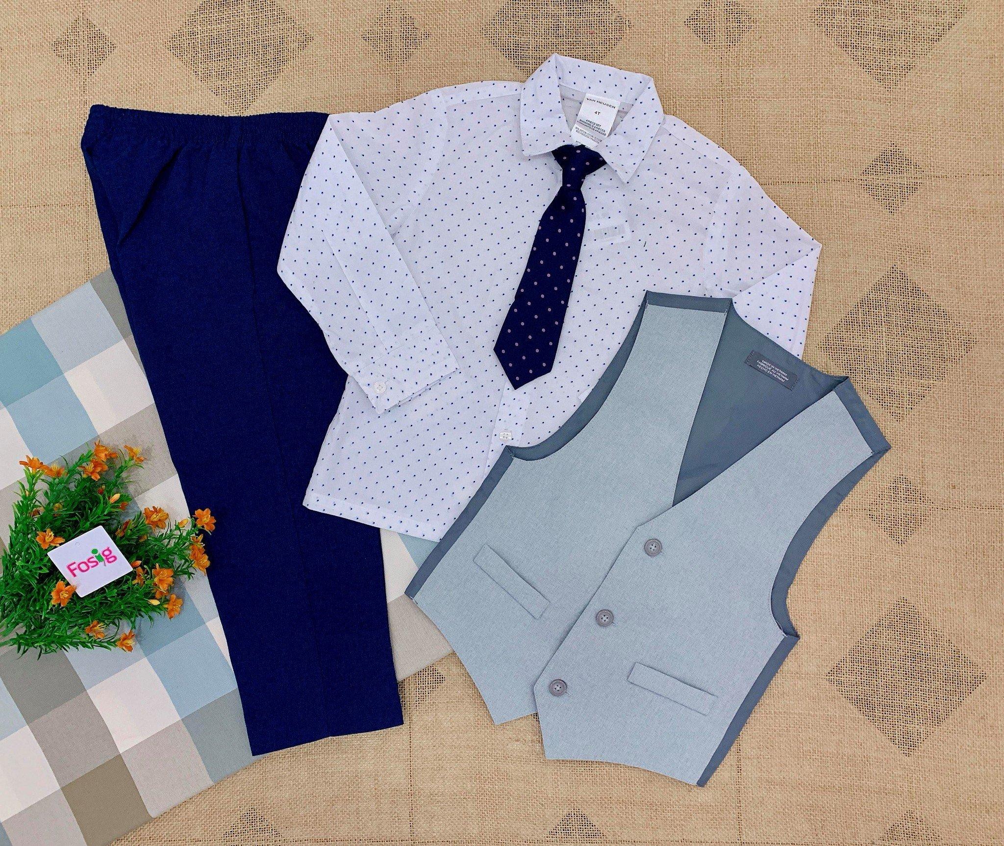 15-16kgBộ Vest Van HeuSen [Boy] - Xám/Chấm Bi