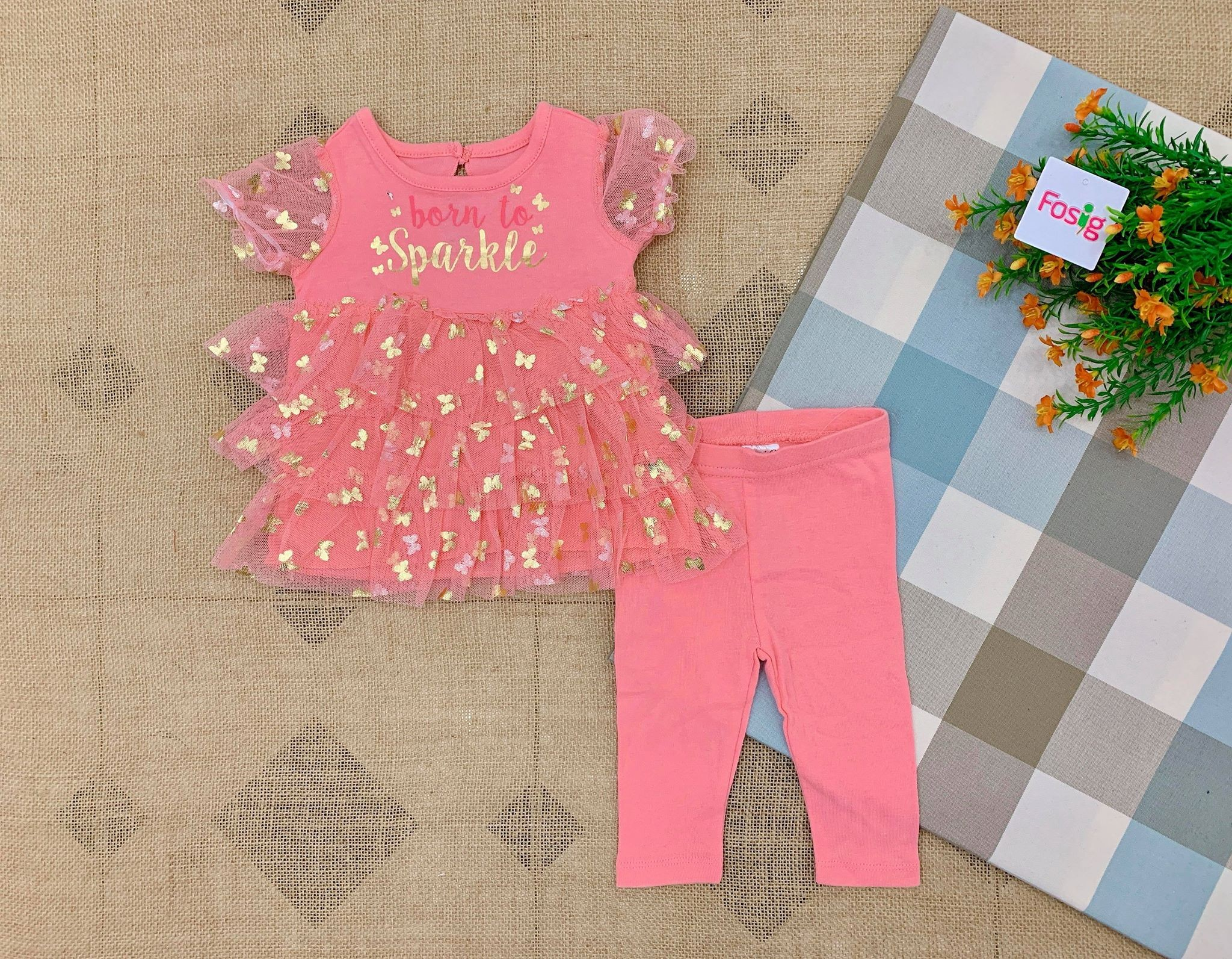 Set 2 Mini.B 010 [Girl] - Hồng Cam/Born To Sparkle [Quần Legging]