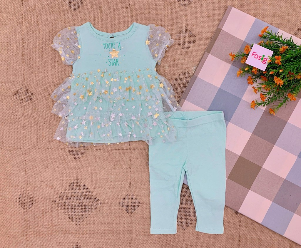 Set 2 Mini.B 010 [Girl] - Xanh Ngọc/You're A Star [Quần Legging]