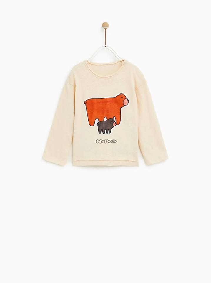 [9-11kg] Áo Thun Zara BaBy Boy - Kem/Gấu [Tay Dài]