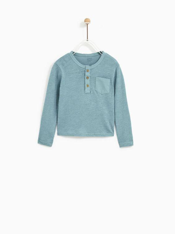 [5-13kg] Áo Thun Zara BaBy Boy - Xanh Xám Trơn [Tay Dài]