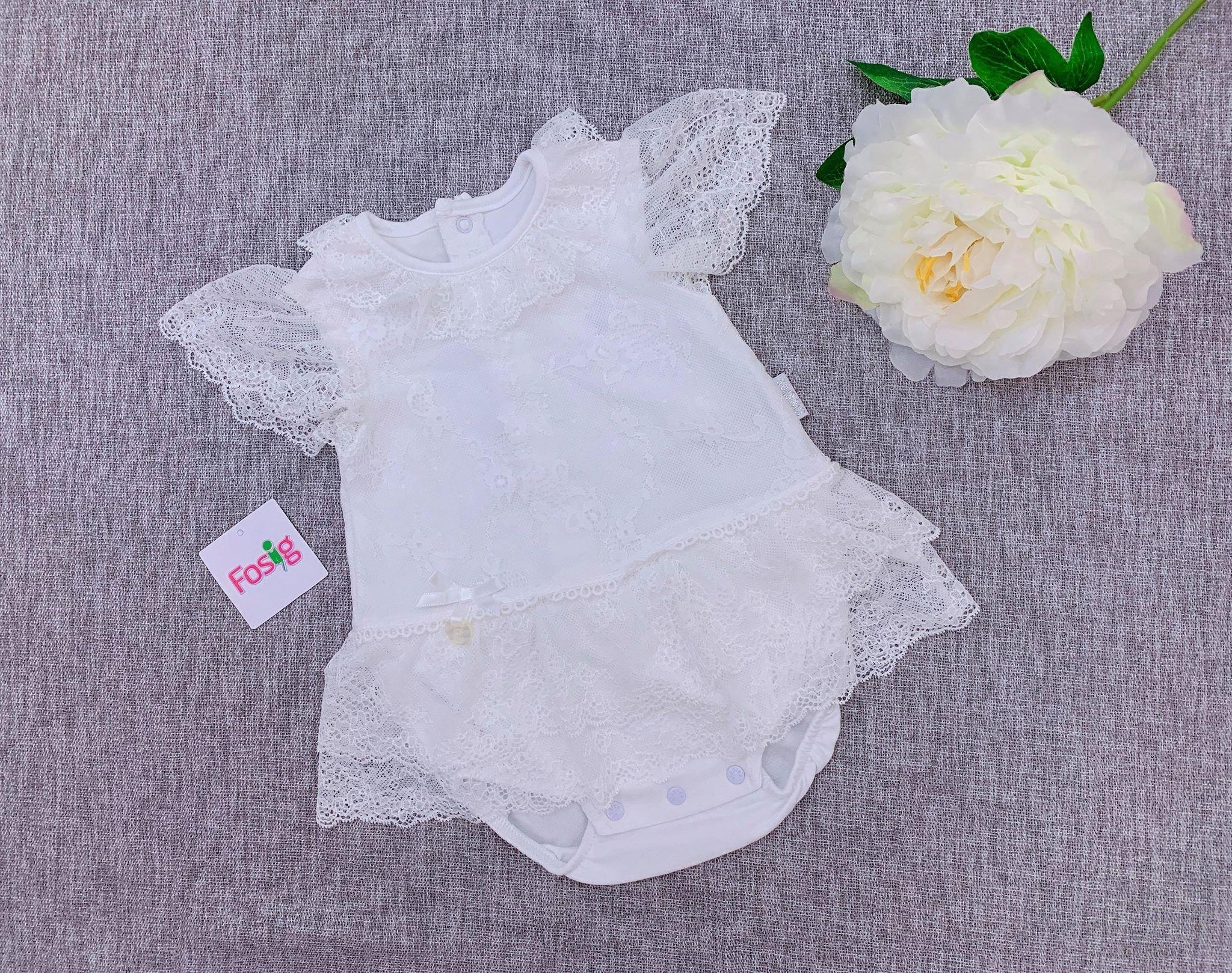 [5-11kg] Body Váy Giggles 014 [Girl] - Trắng/Ren