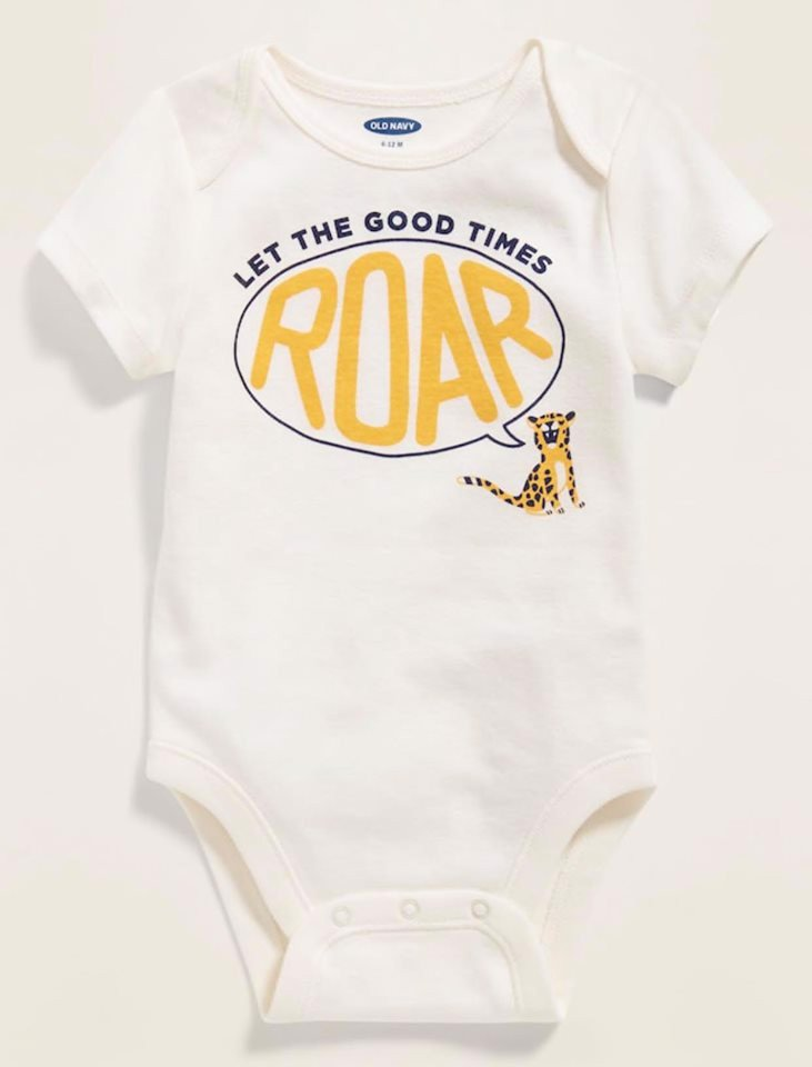 [5-12kg] Bodysuit Old Navy 05 [Boy] - Trắng/Roar