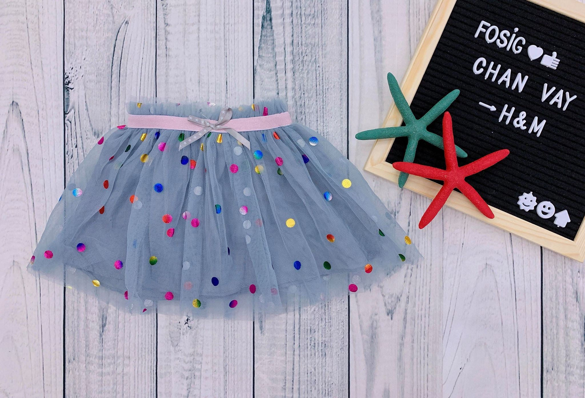 [8-17kg] Chân Váy H&M [Girl] - Xám/Chấm Bi Đa Màu