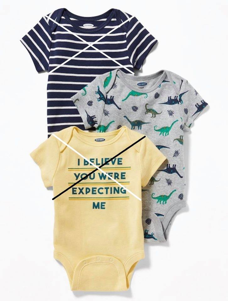 [4-6kg] Bodysuit Old Navy 05 [Boy] - Xám/Khủng Long