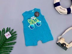 [3-15kg] Body Đùi Romper Đùi Tex [Boy] - Xanh Bích/Palm Beach