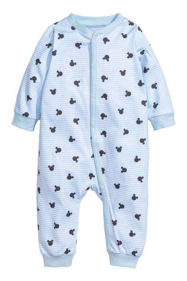 [6-15kg] Sleepsuit H&M [Boy] - Xanh Dương/Sọc Trắng Mickey
