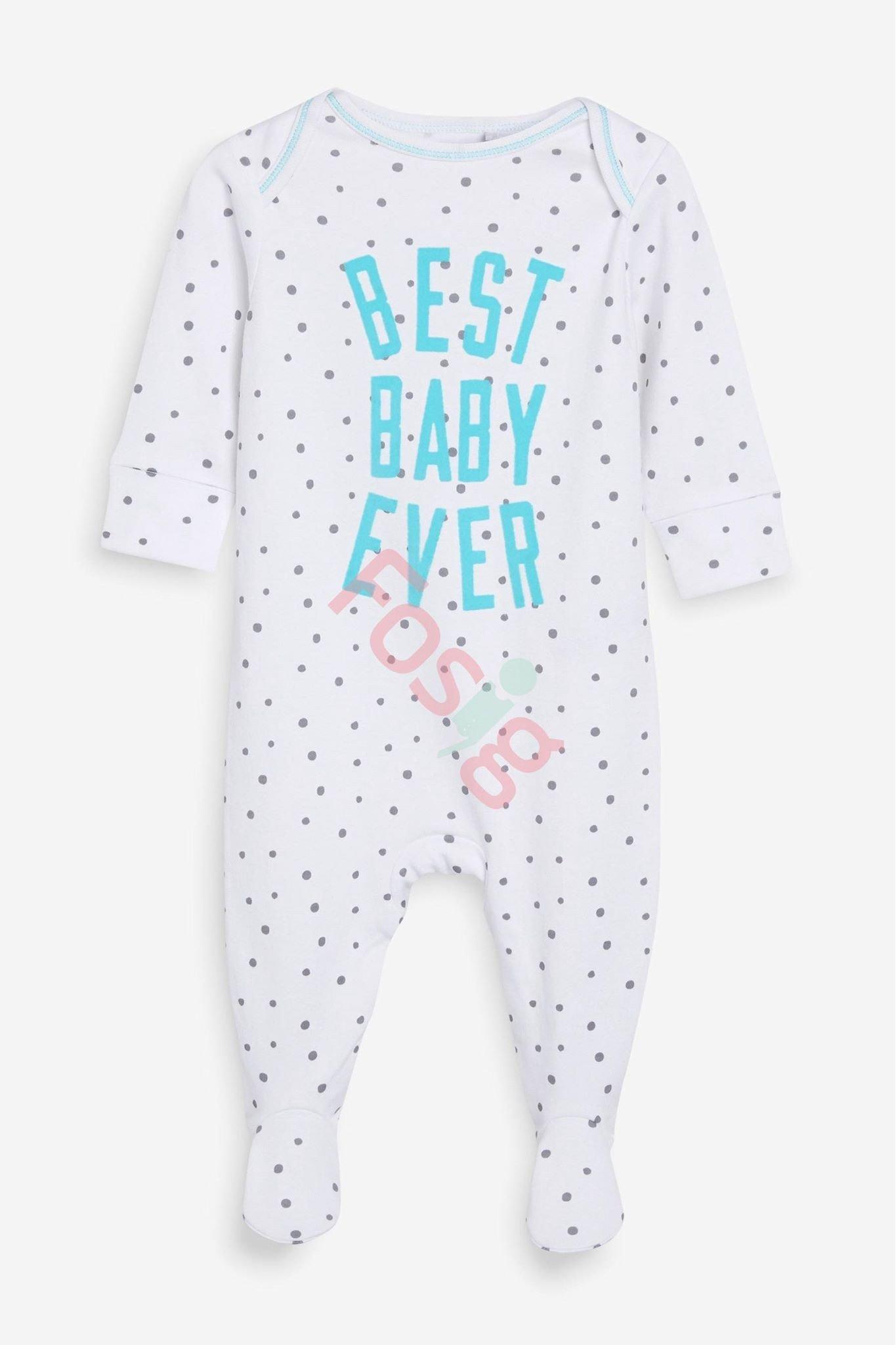 [6-7kg] Sleepsuit Next Baby 73 [Boy] - Trắng/Chấm Bi Best