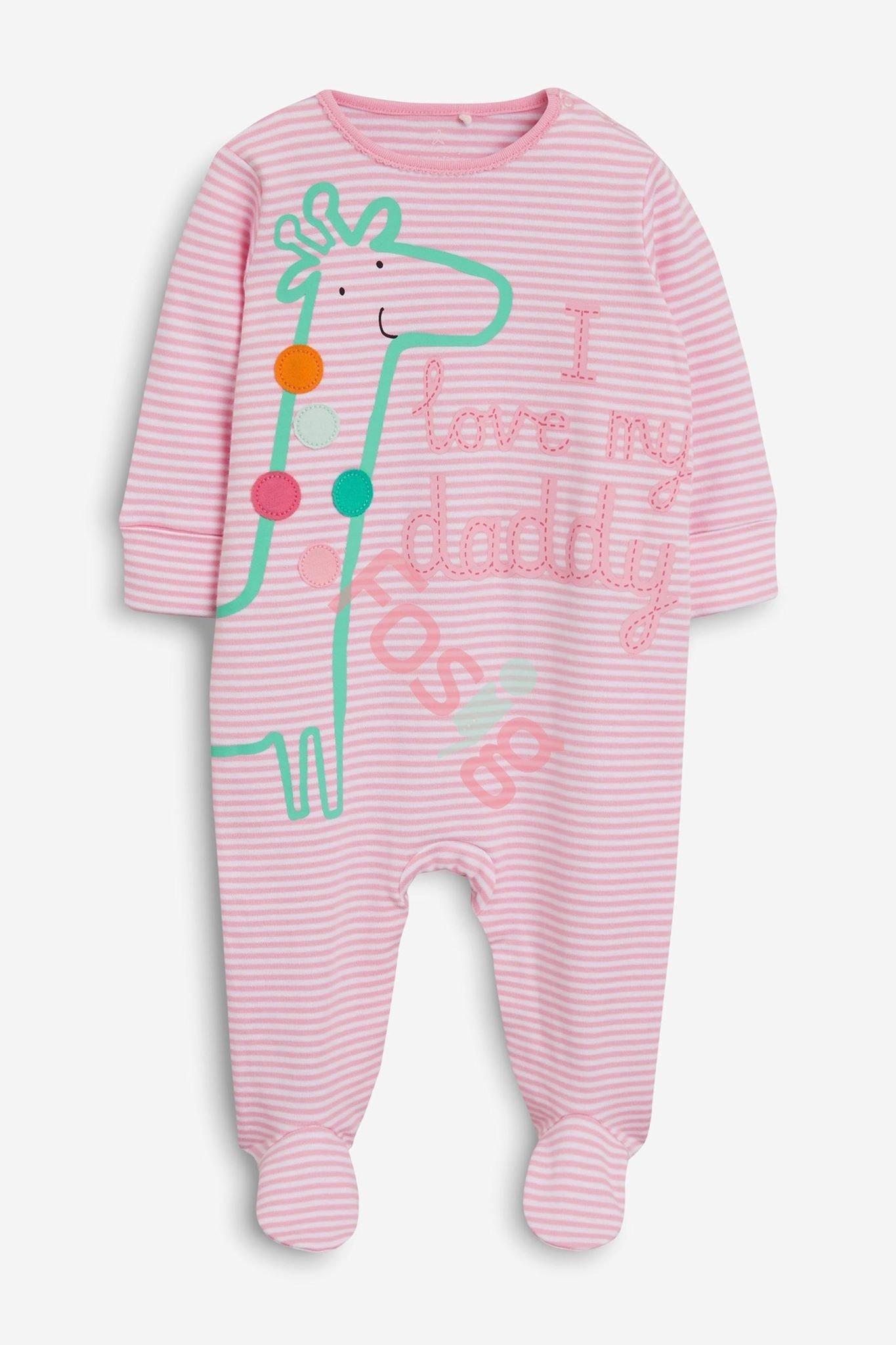 [3-5kg] Sleepsuit Next Baby 73 [Girl] - Trắng/Sọc Hồng Hươu