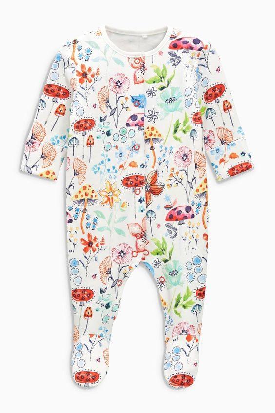 [4-5kg] Sleepsuit Next Baby 73 [Girl] - Trắng/Hoa Nấm