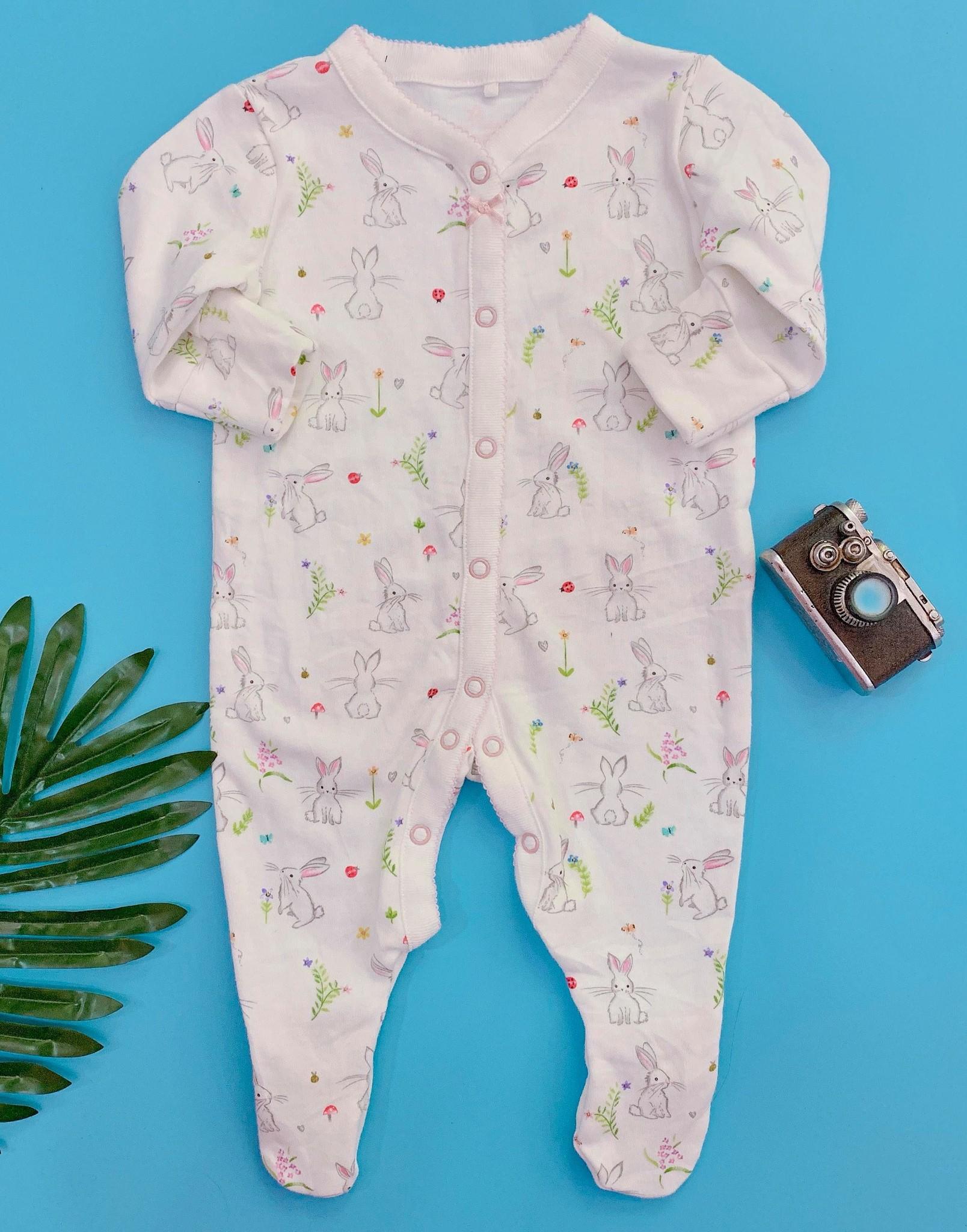 [4-7kg] Sleepsuit Next Baby 73 [Girl] - Trắng/Thỏ Nấm