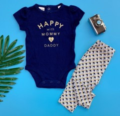 [4-6kg; 8-9kg] Set 2 Carter's Baby 86 [Girl] - Xanh Navy/Happy