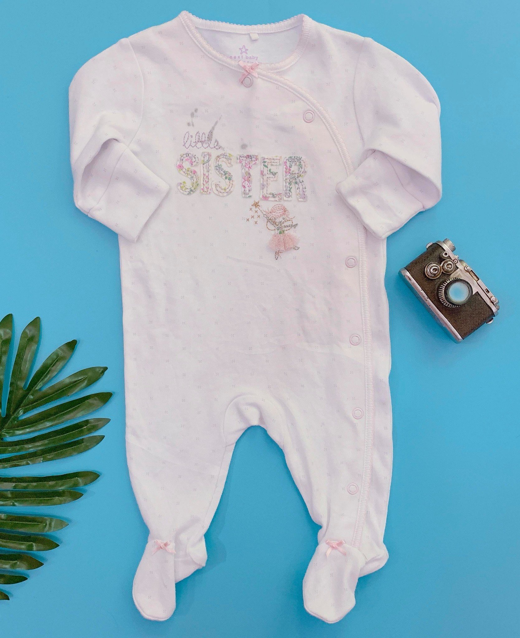 [3-7kg] Sleepsuit Next Baby 73 [Girl] - Hồng Trắng/Little Sister