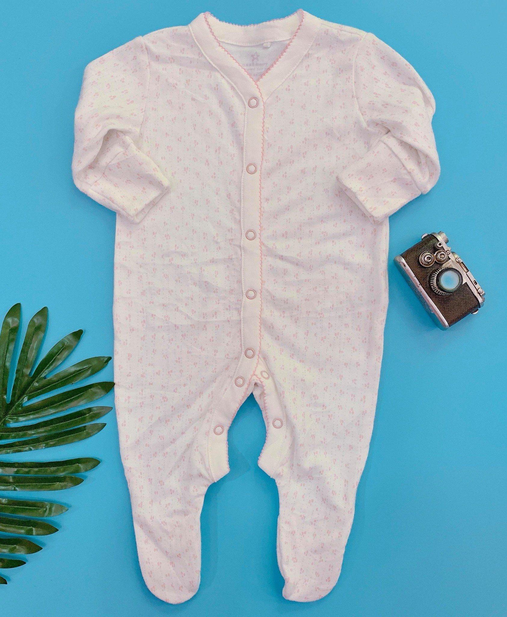 [4-5kg] Sleepsuit Next Baby 73 [Girl] - Trắng/Hoa Hồng Nhỏ