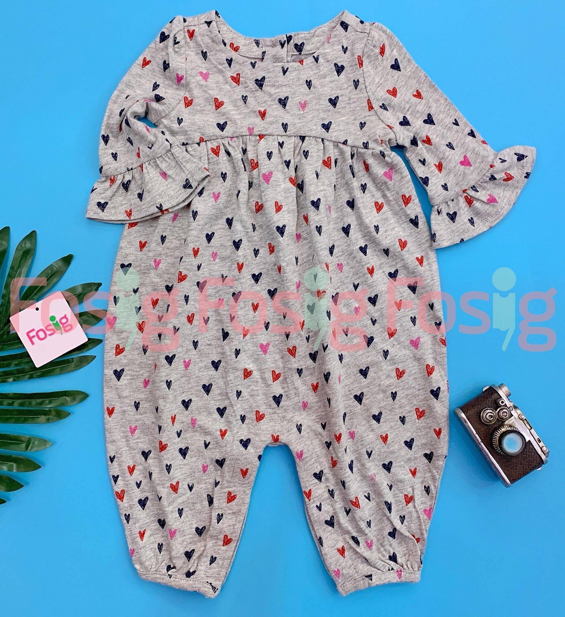 [5-14kg] Sleepsuit Baby Gap 60 [Girl] - Xám/Trái Tim