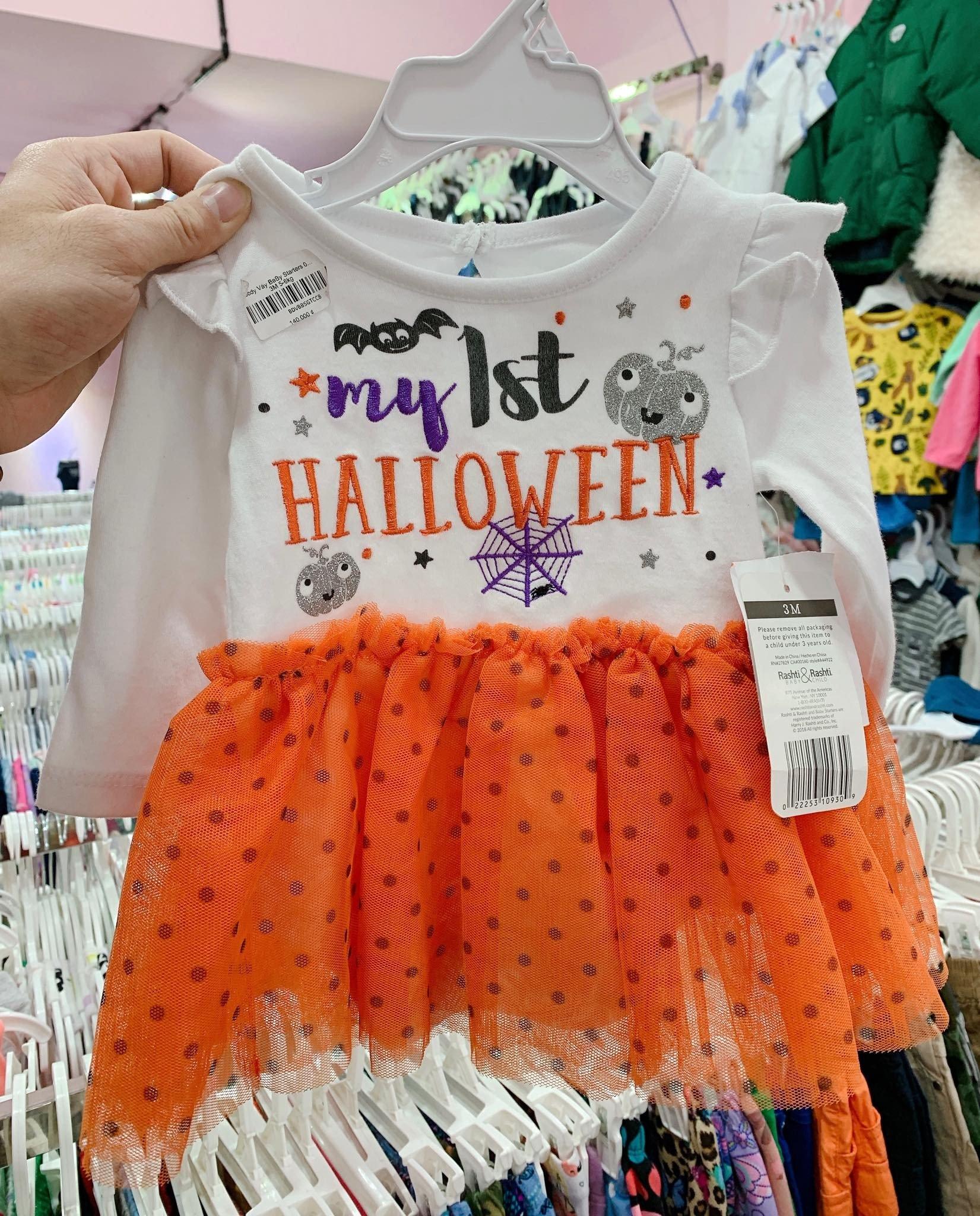 Body Váy BaBy Starters 010 Halloween [Girl] - Trắng/Cam/Chấm Bi