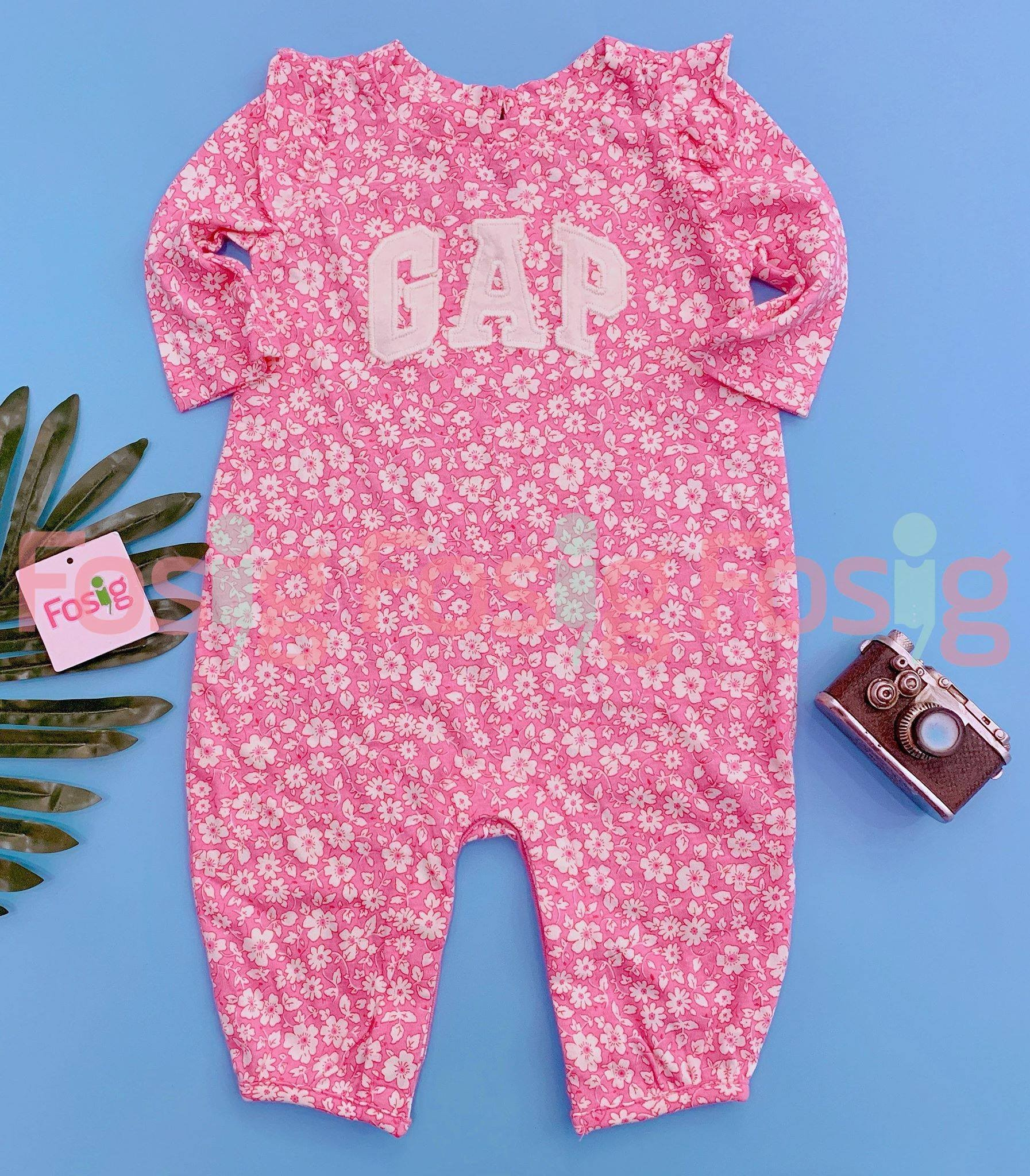 [5-12kg] Sleepsuit Baby Gap 60 [Girl] - Hồng/Hoa Trắng