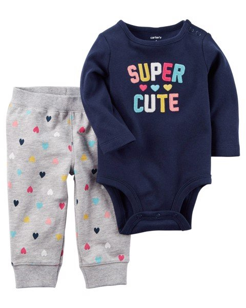 [4-6kg] Set 2 Carter's Baby 86 [Girl] - Xanh Navy/Super Cute