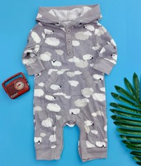 [5-10kg] Sleepsuit Old Navy 60 [Boy] - Xám/Cừu
