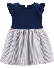 [11-12kg] Đầm Cotton Carter's [Girl] - Navy/Xám Sọc