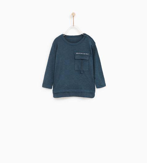 [7-16kg] Áo Thun Zara 108 [Boy] - Xanh Bích/Túi Chữ